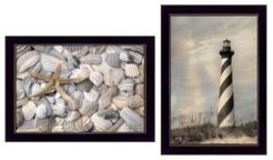 "Cape Hatteras Lighthouse and Sea Shells Collection By Lori Deiter, Printed Wall Art, Ready to hang, Black Frame, 20"" x 14"""