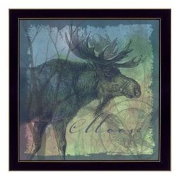 "Moose By Barb Tourtillotte, Printed Wall Art, Ready to hang, Black Frame, 14"" x 14"""