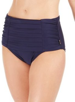 Pleated High-Waist Bikini Bottoms Women's Swimsuit