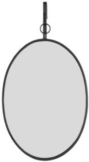 Oval Wall Mirror with Distressed Metal Frame Hanging Bracket - Set of 2