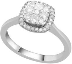 Cushion Shape Halo Cluster Diamond (1/2 ct. t.w.) Ring in 14K White Gold