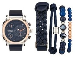 Navy/Rose Gold Analog Quartz Watch And Stackable Gift Set
