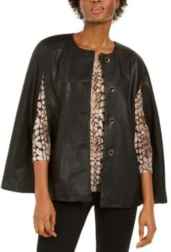 Inc Faux-Leather Cape, Created for Macy's