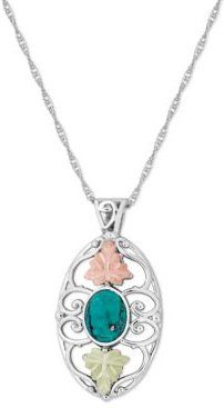 """Turquoise Pendant 18"""" Necklace in Sterling Silver with 12K Rose and Green Gold"""