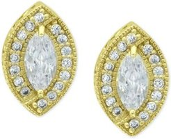 Cubic Zirconia Marquis Halo Stud Earrings in 18k Gold-Plated Sterling Silver