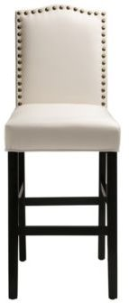 """Set of Two 45"""" H Leatherette Barchair with Studded Decoration and Solid Rubberwood Legs"""