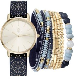 Blue Cut-Out Faux Leather Strap Watch 36mm Gift Set
