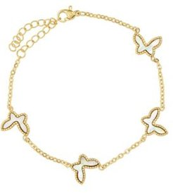 18K Micron Gold Plated Stainless Steel Butterfly Link Bracelet with Butterflies