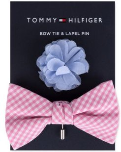 Gingham Bow Tie & Floral Lapel Pin