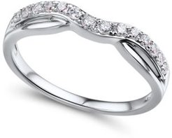 Diamond (1/4 ct. t.w.) Contour Band in 14K White Gold