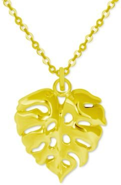 """Palm Frond Pendant Necklace in Gold-Plate, 16"""" + 2"""" extender"""
