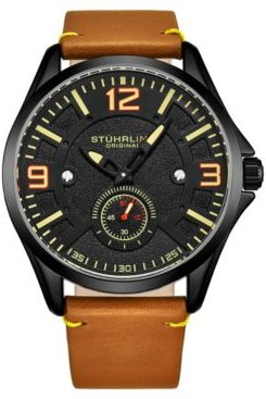 Tan Leather Strap Watch 43mm