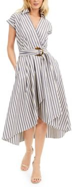 Belted Striped High-Low Dress