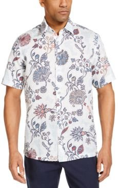 Editto Floral Linen Short Sleeve Tropical Print Shirt, Created for Macy's