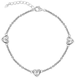 Bodifine Cubic Zirconia Hearts Sterling Silver-Tone Anklet