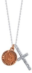 Gratitude & Grace Rose Gold Two-Tone Saint Christopher Coin and Crystal Cross Pendant Necklace