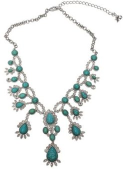Rhodium Plated Drop Necklace