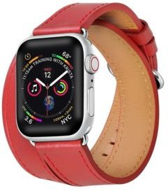and Women's Apple Red Leather Replacement Band 40mm