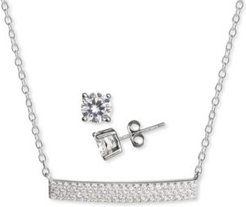 2-Pc. Set Cubic Zirconia Pave Bar Pendant Necklace & Solitaire Stud Earrings in Sterling Silver, Created for Macy's
