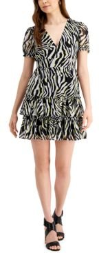 Ruffled Zebra-Print Mini Dress, Created for Macy's