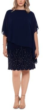 Plus Size Embellished Overlay Shift Dress