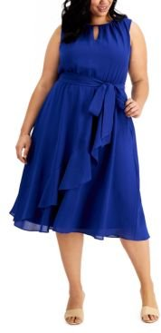 Plus Size Ruffled Midi Dress