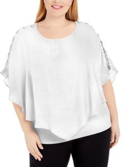 Plus Size Embellished Poncho Top, Created for Macy's