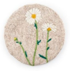"""8"""" Tan Felted Wool Trivet with/White Flowers"""