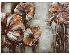 """Water Lilly Pads 2 Mixed Media Iron Hand Painted Dimensional Wall Art, 36"""" x 48"""" x 2.4"""""""