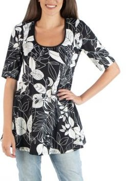 Botanical Print Elbow Sleeve Swing Top