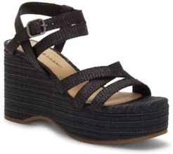 Carlisha Raffia Sculpted Platform Wedges Women's Shoes