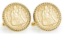 Gold-Layered Seated Liberty Silver Dime Rope Bezel Coin Cuff Links