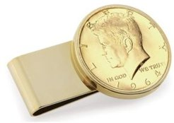 Gold-Layered Jfk 1964 First Year of Issue Half Dollar Stainless Steel Coin Money Clip