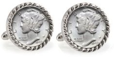 Silver Mercury Dime Rope Bezel Coin Cuff Links