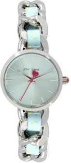 Woven Floral Silver-Tone and Floral Printed Polyurethane Bracelet Watch 30mm