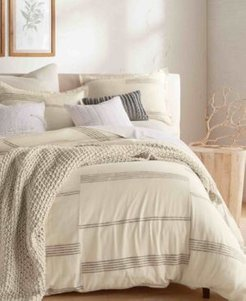 Pure Marled Stripe King 3 Piece Duvet Set Bedding