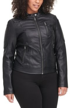 Trendy Plus Size Classic Faux-Leather Quilted Racer Jacket