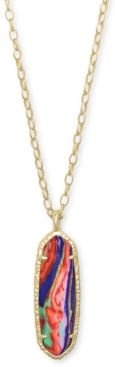 "14k Gold-Plated Stone Long Pendant Necklace, 32"" + 2"" extender"