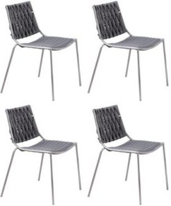 Stackable Side Chair with Weave Back, Set of 4