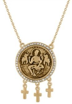 "Gold-Tone Pave Coin Pendant Necklace, 18"" + 3"" extender"