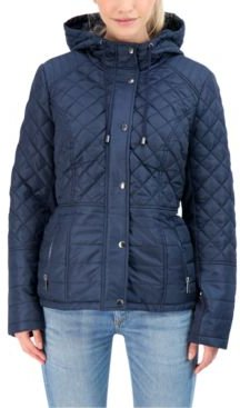 Juniors' Hooded Quilted Water-Resistant Coat