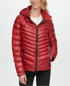 Petite Hooded Packable Down Puffer Coat, Created for Macy's