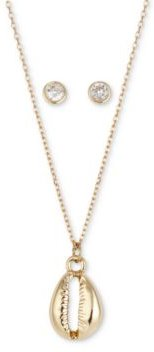 2-Pc. Set Shell Pendant Necklace & Cubic Zirconia Round Stud Earrings in Gold-Flash, Created for Macy's