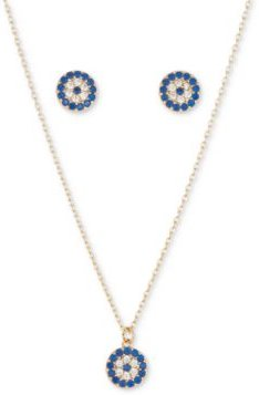 Fine Silver Plated 2-Pc. Set Cubic Zirconia Evil-Eye Pendant Necklace & Matching Stud Earrings in Gold