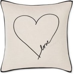 """20"""" L x 20"""" W Love Heart Embroidered Square Pillow Bedding"""
