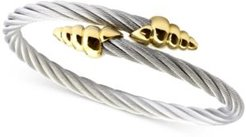Cable Bypass Bracelet in Stainless Steel & 18k Gold-Plated Silver