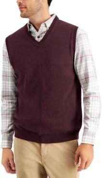 Solid V-Neck Sweater Vest, Created for Macy's