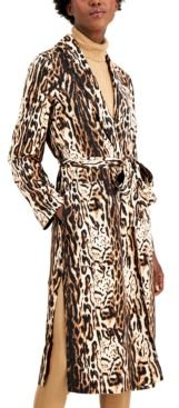Inc Animal-Print Belted Trench Coat, Created for Macy's