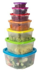 Plastic 7-Pc. Food Storage Container Set with Multi-Colored Lids