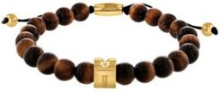 Tiger's Eye Bead Bolo Bracelet with Stainless Steel Accents
